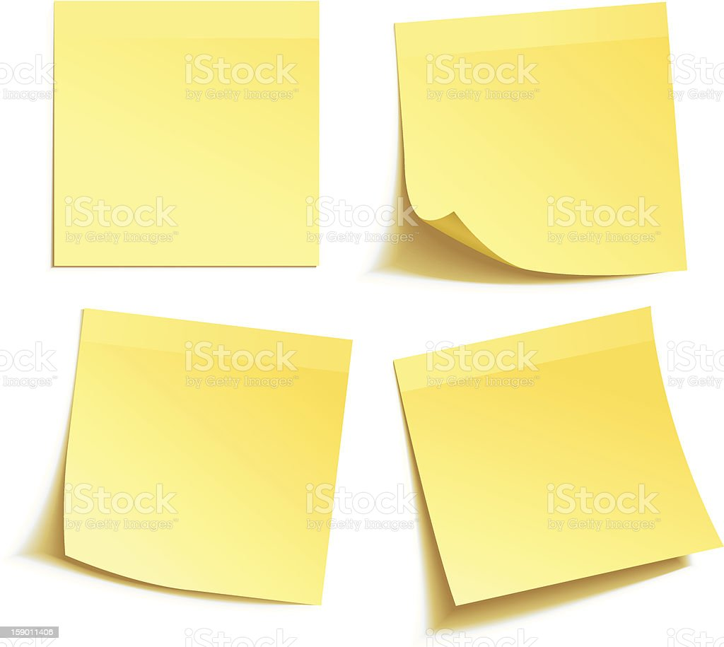 Yellow stick note vector art illustration
