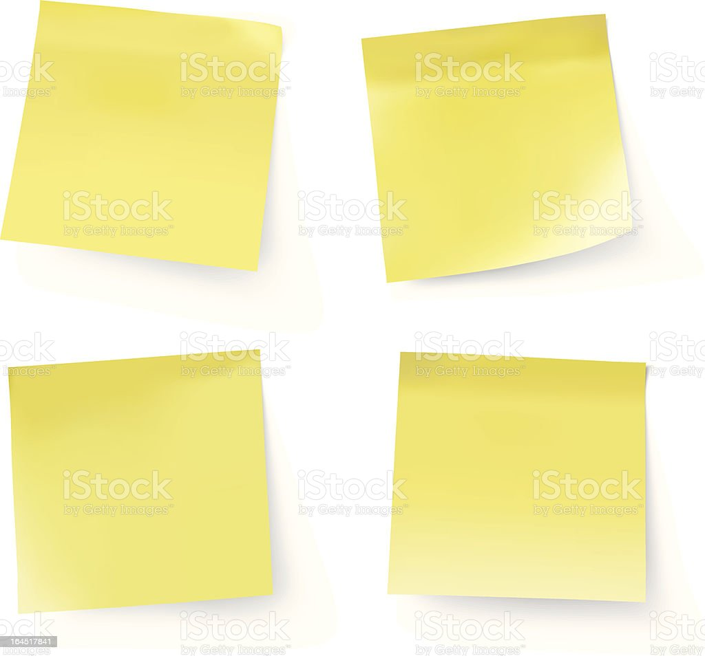 yellow stick notes, transparent shadow vector art illustration