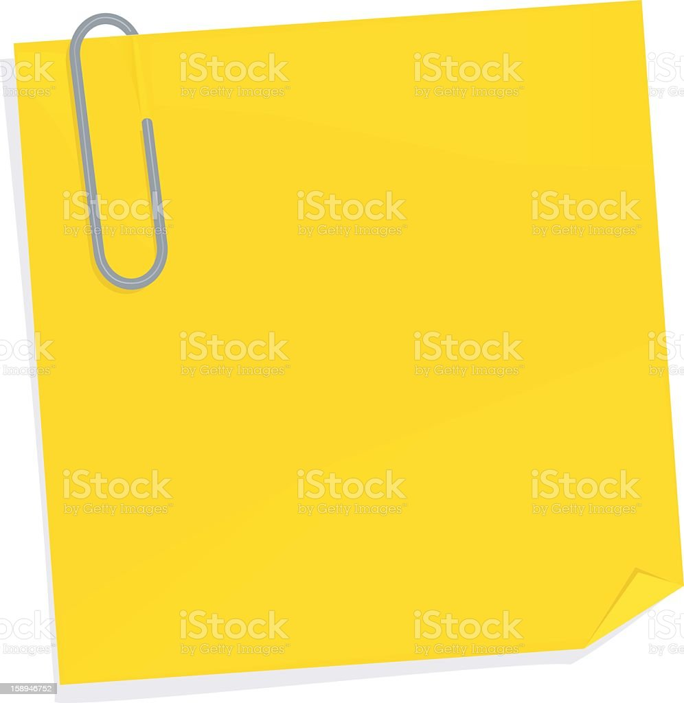 Yellow sticky note with paperclip on top left corner royalty-free stock vector art