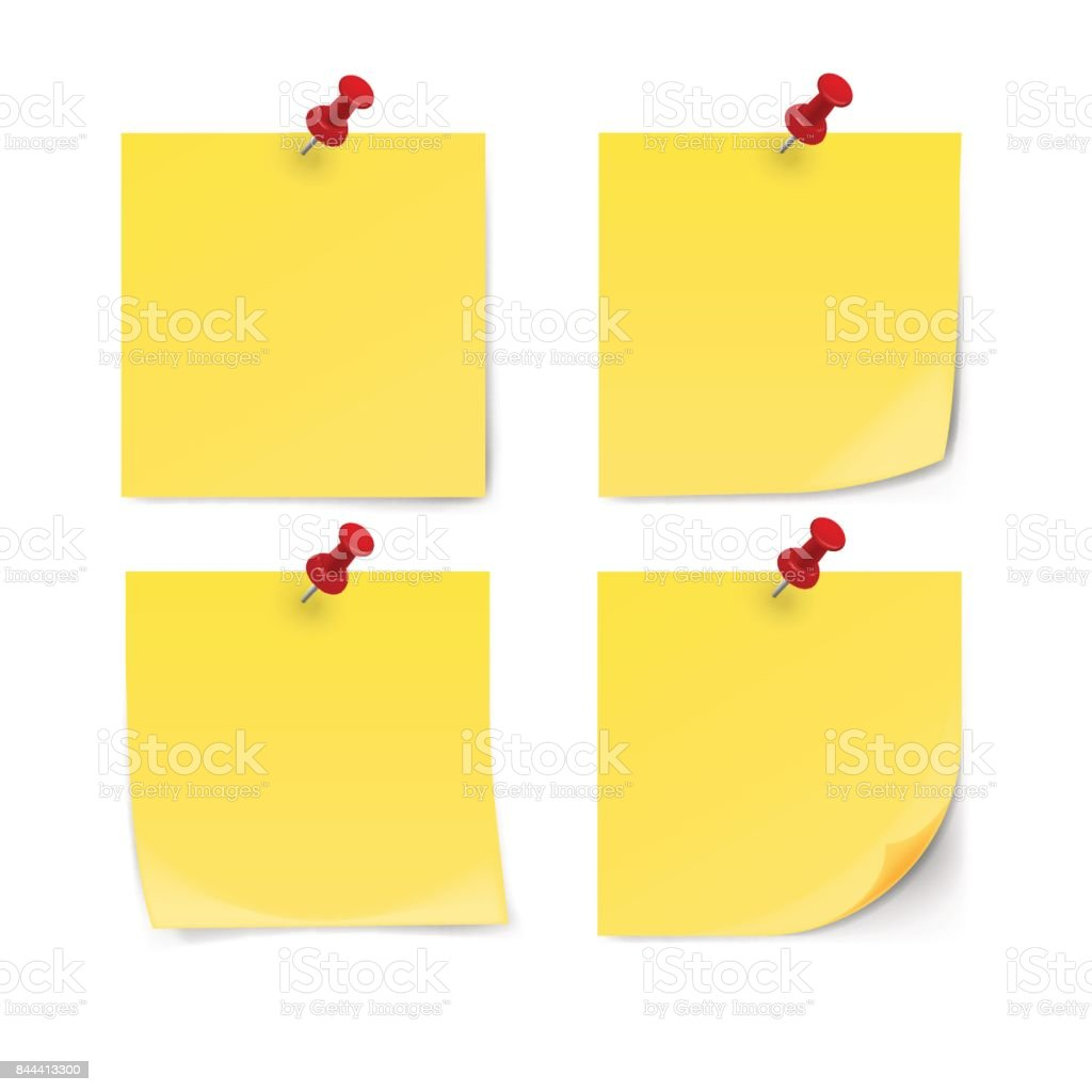 Yellow sticky note with pin clip isolated on white background. vector art illustration