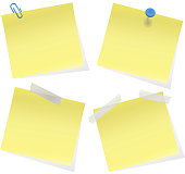 Yellow Sticky Notes on White Background Vector Illustration