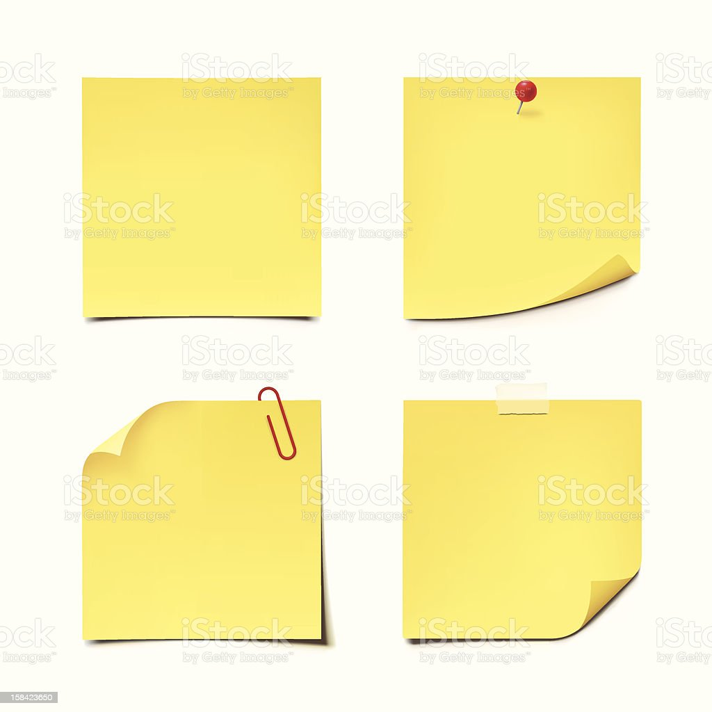 Yellow sticky notes on white background vector art illustration