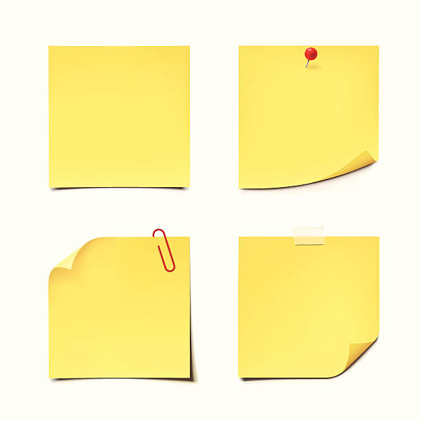 illustrazioni stock, clip art, cartoni animati e icone di tendenza di giallo sticky note su sfondo bianco - post it
