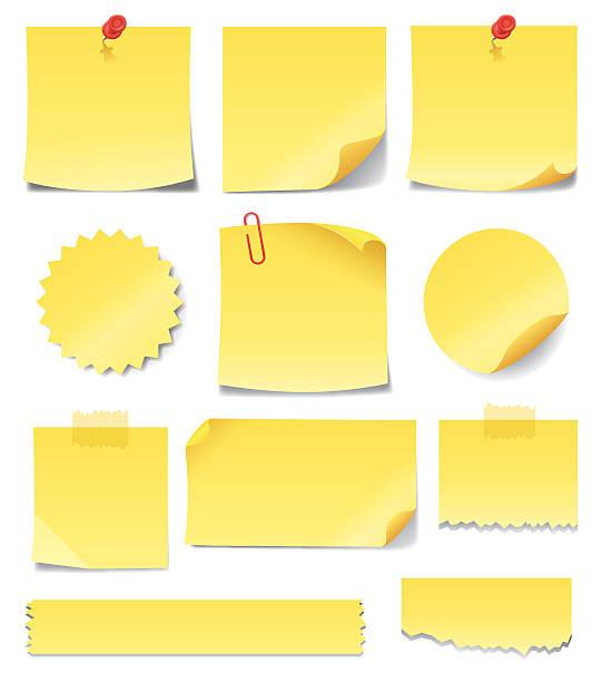 желтые стикеры для заметок - post it notes stock illustrations