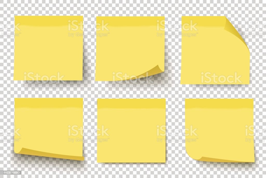 Yellow sticky notes. Vector set on tranparent background. vector art illustration