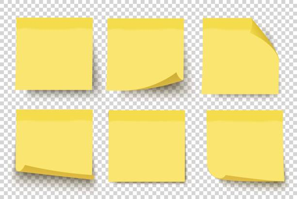 illustrazioni stock, clip art, cartoni animati e icone di tendenza di yellow sticky notes. vector set on tranparent background. - post it