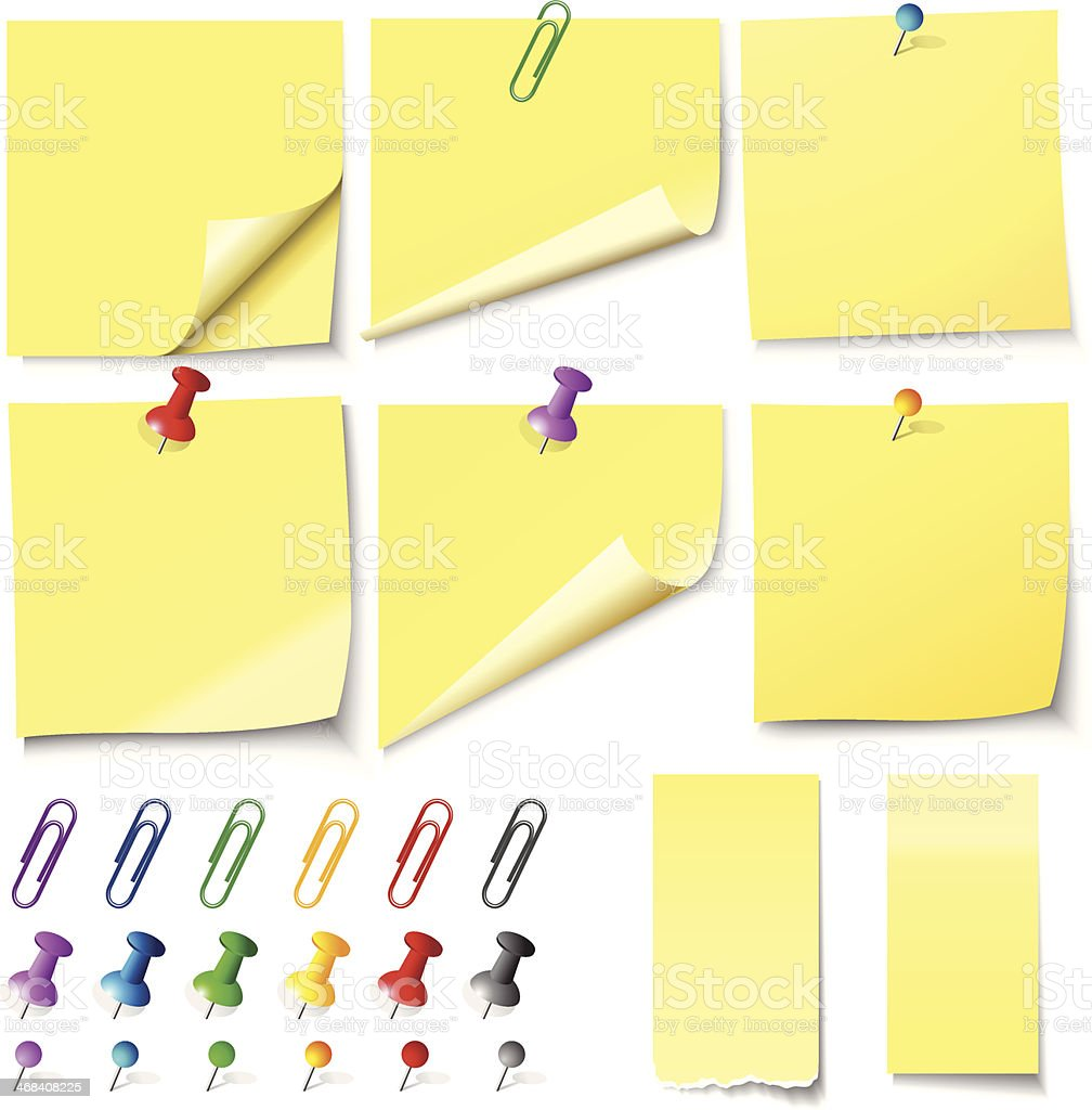 Yellow sticky notes with colorful paper clips vector art illustration