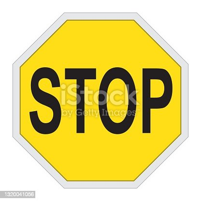 istock Yellow stop sign isolated on white 1320041056