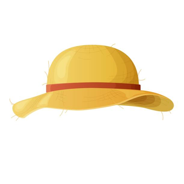 Yellow straw hat with a red ribbon.