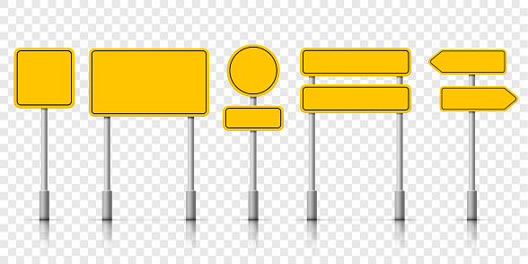 Yellow street road sign boards. Vector roadsign alert notice on transparent background clipart
