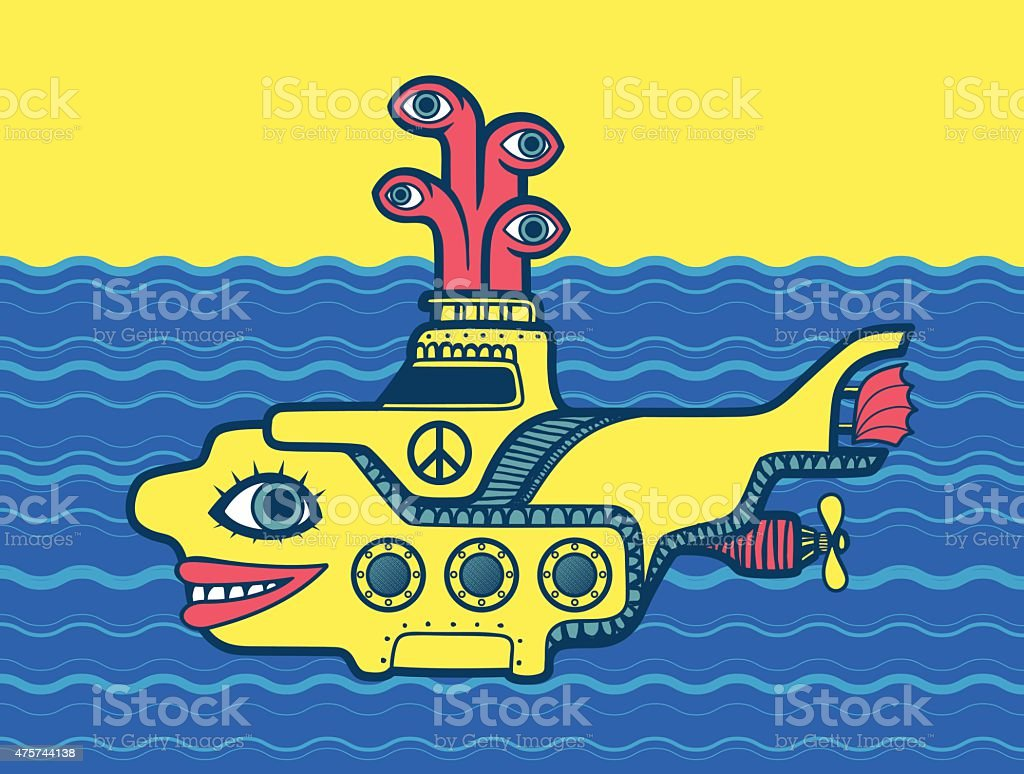 Yellow submarine at sea cartoon peace sign psychedelic 60s art vector art illustration