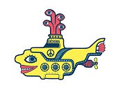 Yellow submarine diving in the depths of sea psychedelic art