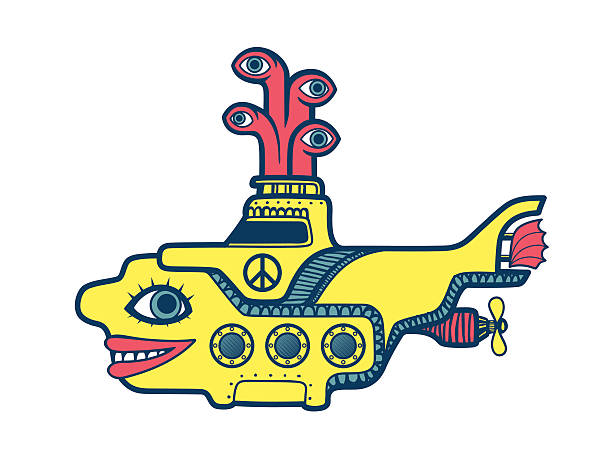 Yellow submarine diving in the depths of sea psychedelic art vector art illustration