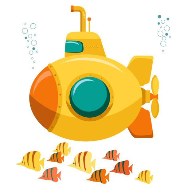 bildbanksillustrationer, clip art samt tecknat material och ikoner med yellow submarine undervattenskablar. vektor - i havet