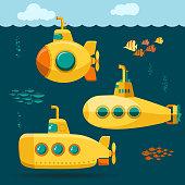 istock Yellow Submarine undersea with fishes, cartoon style. Vector 1097621184