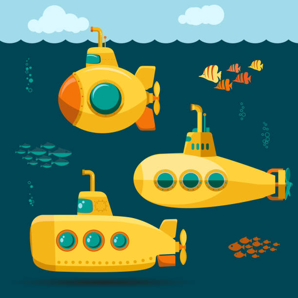 illustrations, cliparts, dessins animés et icônes de yellow submarine sous-marins avec poissons, cartoon style. vector - sous marin