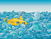 Yellow submarine looking for land on the high seas.