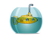 Yellow submarine in a fishbowl.