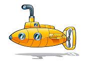 Yellow submarine on white background.