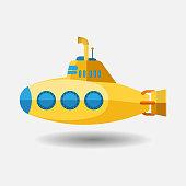 Yellow Submarine with periscope, Flat design. Vector