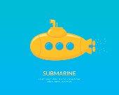 Yellow submarine with periscope swimming underwater.