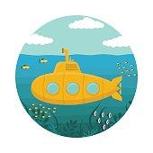 Yellow Submarine with Periscope. Vector