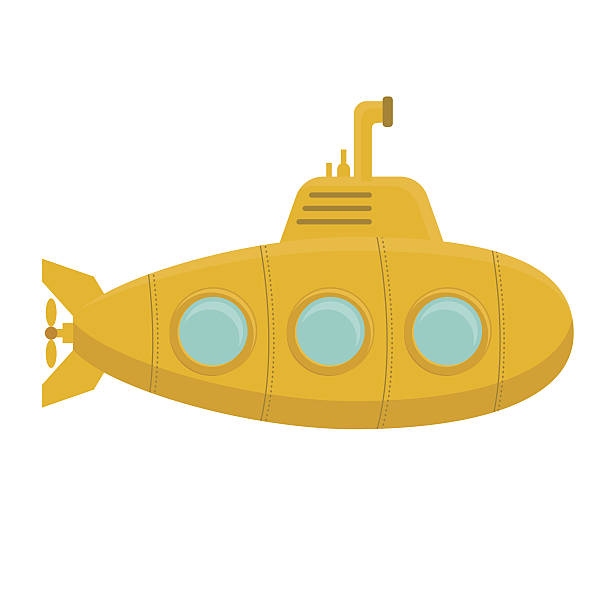 illustrations, cliparts, dessins animés et icônes de yellow submarine with periscope. vector - sous marin