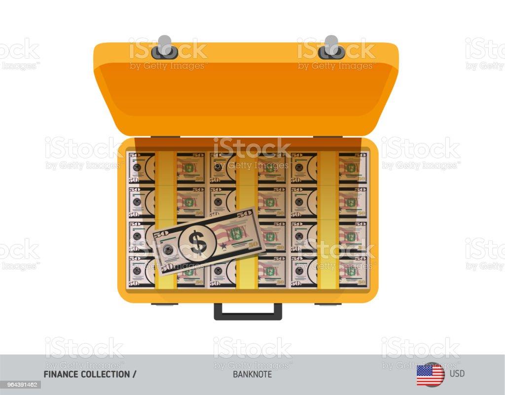Gele koffer met 50 ons Dollar biljetten. Vlakke stijl vectorillustratie. Salaris uitbetaling of corruptie concept. - Royalty-free Abstract vectorkunst