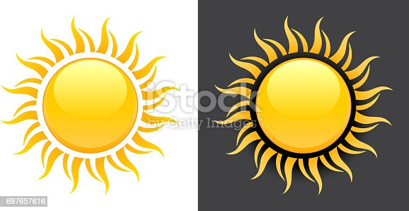 istock Yellow Summer Sun Vector Icon on black and white background. 697657616