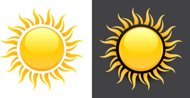 Yellow Summer Sun Vector Icon on black and white background. vector art illustration