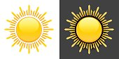 Yellow Summer Sun Vector Icon on black and white background. This image has a large vector sun icon on the left with an alternate design on the right on dark background. Each design element can be used independently. The colors are yellow, white and black. This image is ideal for your summer sun illustrations.