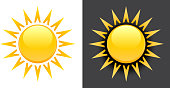 Yellow Summer Sun Vector Icon on black and white background.