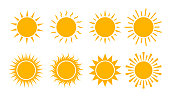 Yellow sun icon set. Flat sunshine logo summer. Simple hot sign. Sunlight burst isolated for ui, mobile. Climate symbol. Abstract silhouette solar. vector illustration