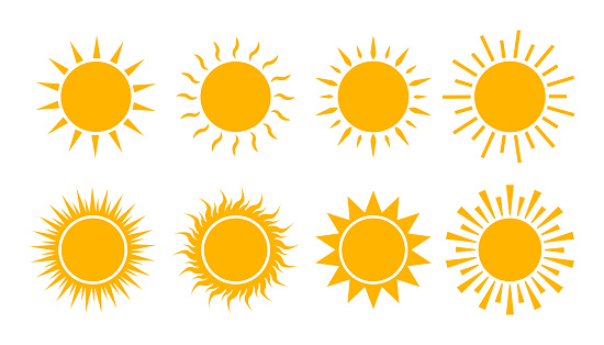 Yellow sun icon set. Flat sunshine logo summer. Simple hot sign. Sunlight burst isolated for ui, mobile. Climate symbol. Abstract silhouette solar. vector illustration.