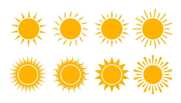 bildbanksillustrationer, clip art samt tecknat material och ikoner med gul solikon inställd. platt solsken logotyp sommar. enkelt het tecken. solljuset brast isolerat för ui, mobil. klimatsymbol. abstrakt silhuett sol. vektorillustration. - sun