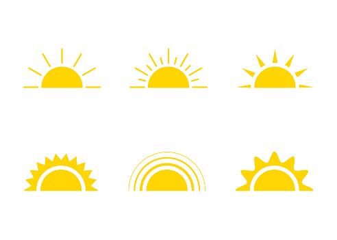 Yellow sun icon, sunshine and sunrise or sunset. Decorative sun and sunlight. Hot solar energy for tan. Vector sign