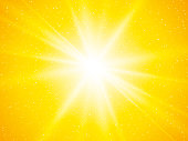 modern style yellow sun rays and dots abstract background