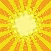 Yellow sunbeam rays pop art retro comic background vector