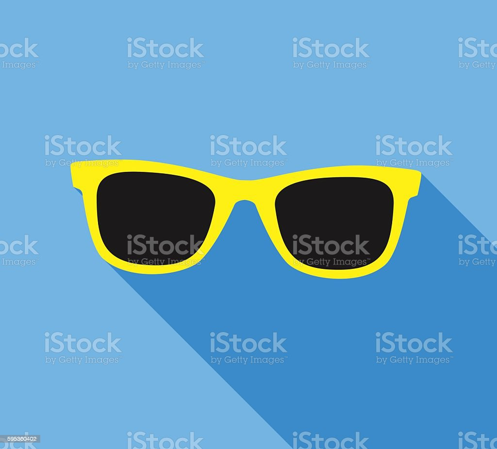 Yellow Sunglasses icon with long shadow. Flat design style. vector art illustration