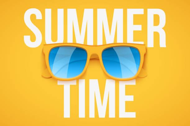 gelbe sonnenbrille auf gelbem hintergrund. - markenbrillen stock-grafiken, -clipart, -cartoons und -symbole