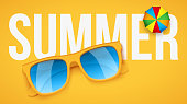 Yellow sunglasses and parasol on yellow background with Summer text. Vacation or shopping sale advertisement. Editable Vector Illustration