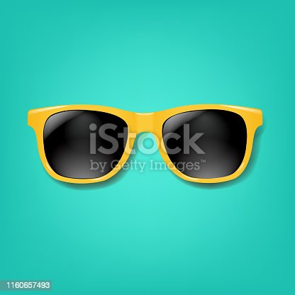 Yellow Sunglasses With Mint background With Gradient Mesh, Vector Illustration