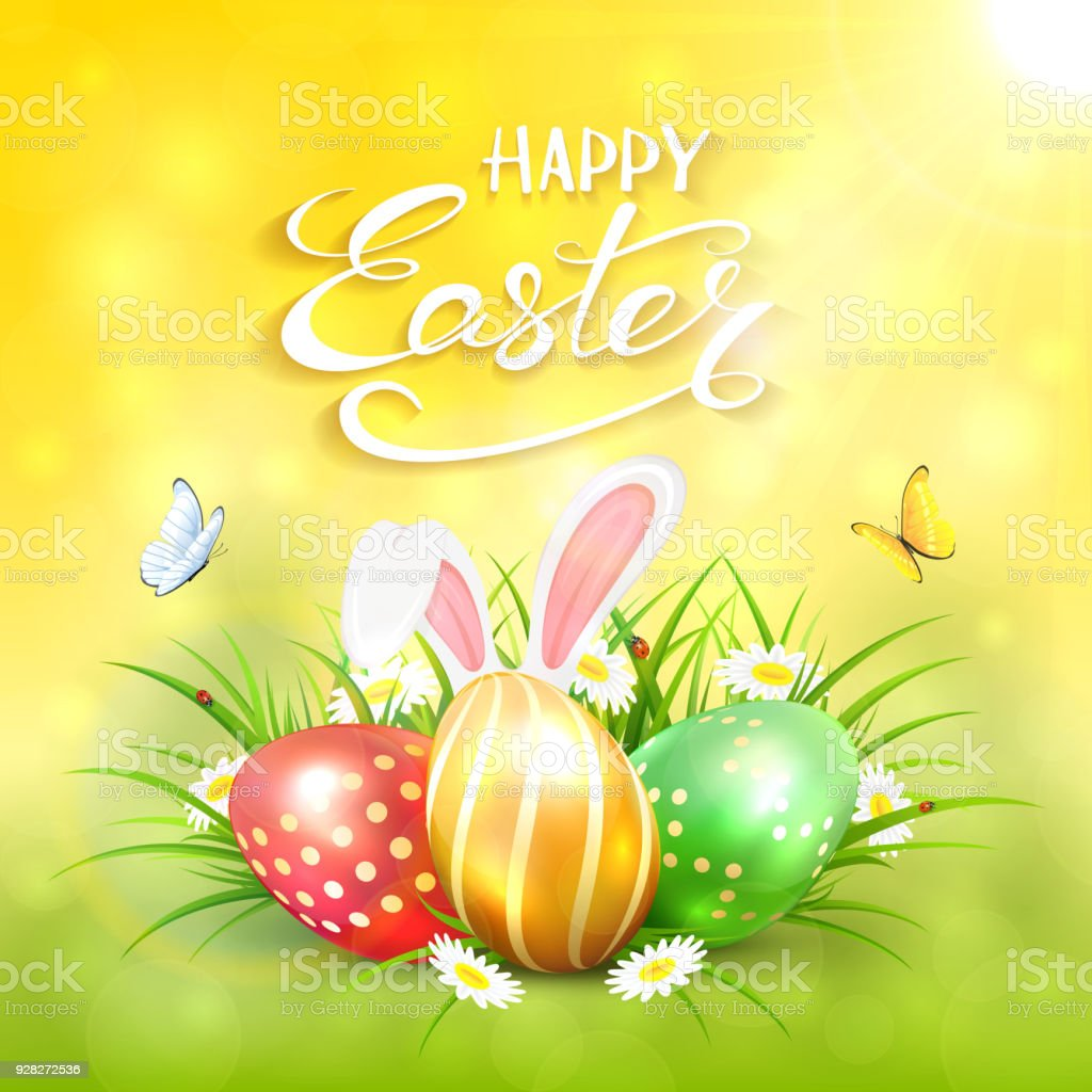Yellow sunny background with Easter eggs and rabbit ears in grass vector art illustration