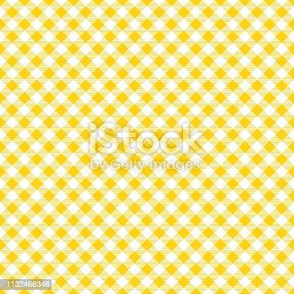 Yellow and white tablecloth argyle seamless diagonal pattern background.