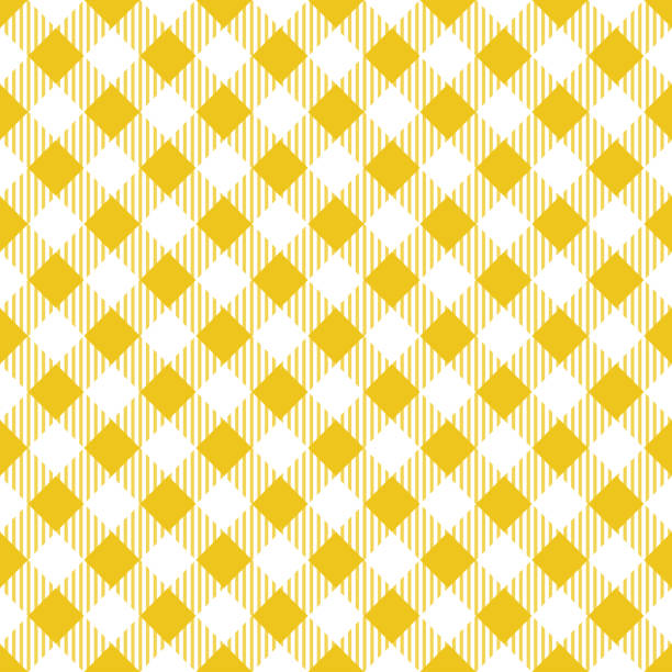 Yellow Tablecloth Argyle Pattern Yellow and white tablecloth seamless diagonal pattern. tartan pattern stock illustrations