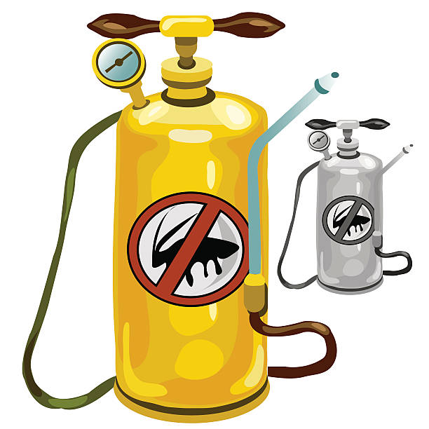 yellow tank an exterminator isolated - sicherheitsventil stock-grafiken, -clipart, -cartoons und -symbole