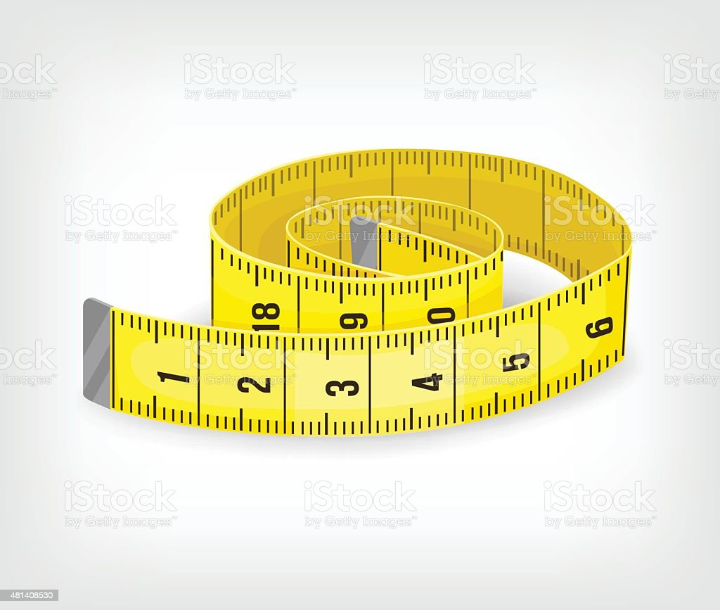 Yellow tape measure in inches. Vector illustration vector art illustration