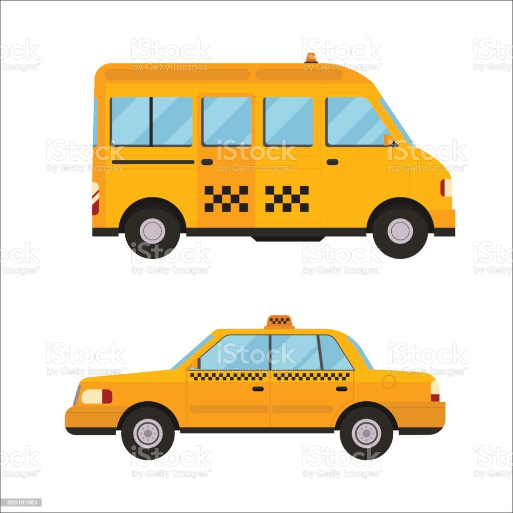 Yellow taxi bus vector illustration isolated car city travel cab transport traffic road street wheel service symbol icon passenger auto business sign vector art illustration