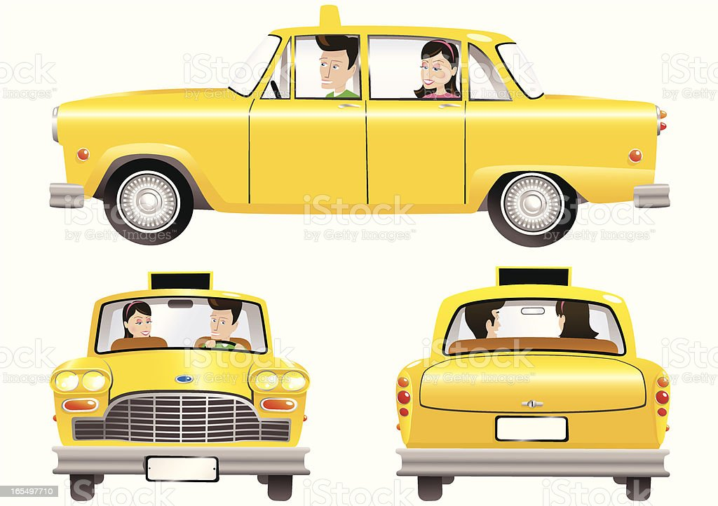 Yellow taxi cab and people vector art illustration