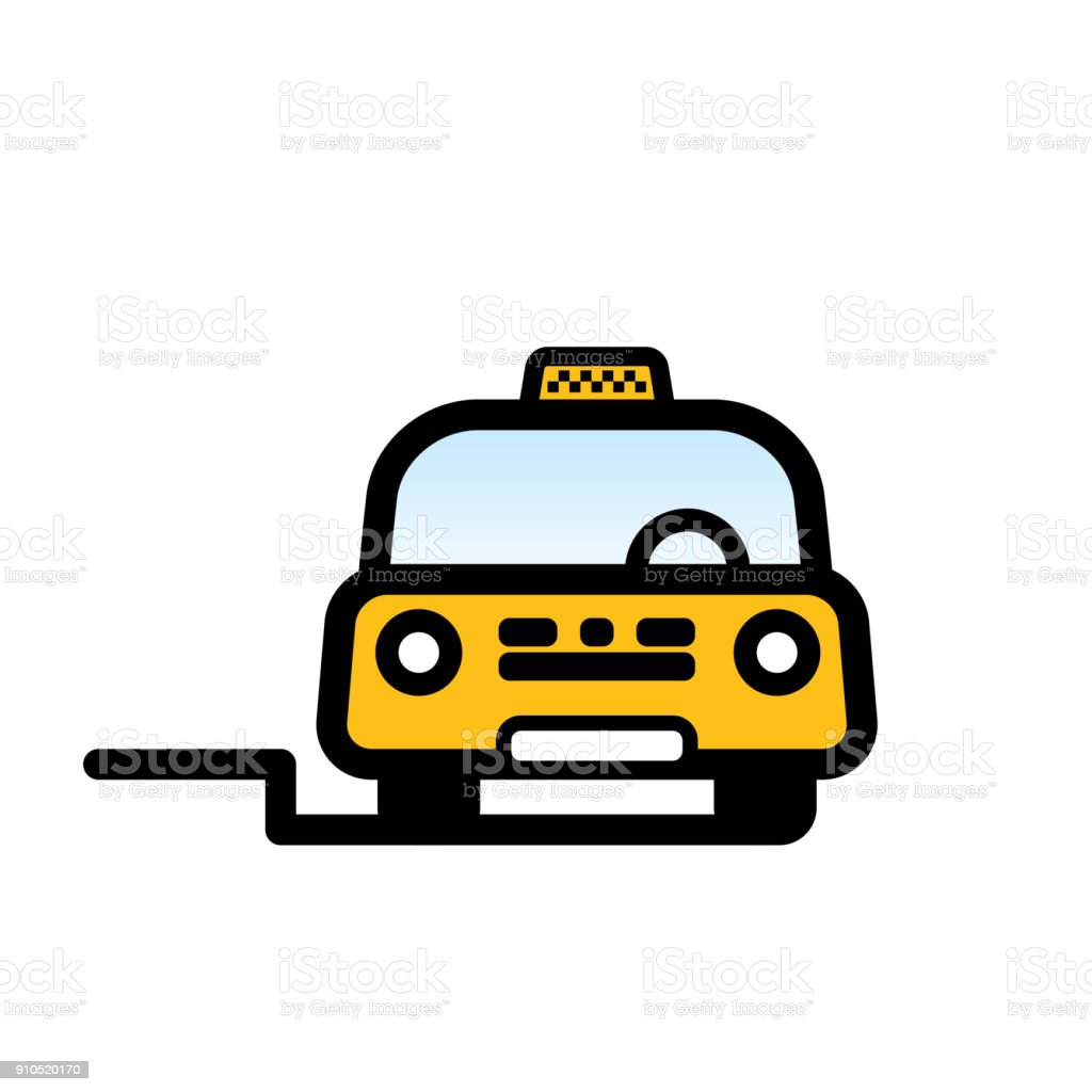 Yellow Taxi Cab vector art illustration